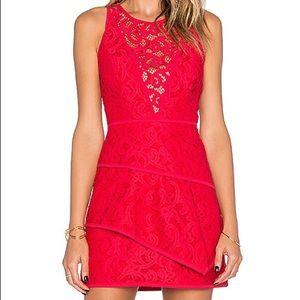BCBGMaxAzria Red Lace Sleeveless Short Dress